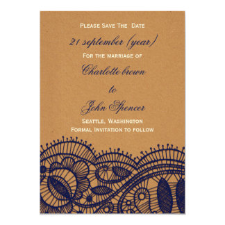 FAUX Recycle Paper, navy blue Lace save the Date 13 Cm X 18 Cm Invitation Card