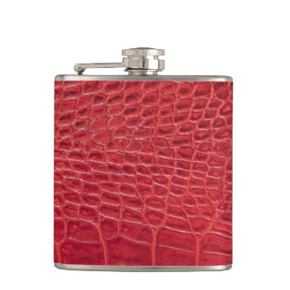 Faux red alligator leather hip flask