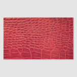 Faux red alligator leather rectangular sticker