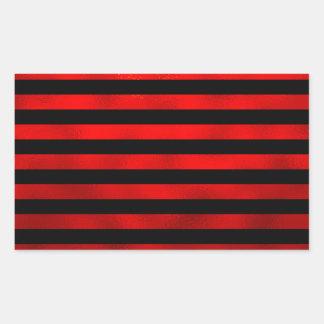 Faux Red Black Vertical Stripes Striped Ribbon Rectangular Sticker