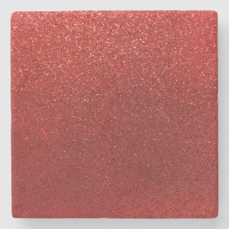 Faux Red Burgundy Glitter Background Sparkle Stone Beverage Coaster