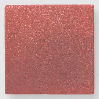 Faux Red Burgundy Glitter Background Sparkle Stone Beverage Coaster