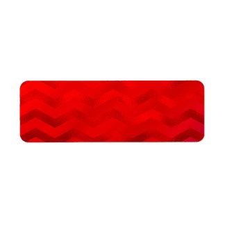 Faux Red Burgundy Shiny Foil Texture Chevron Return Address Label