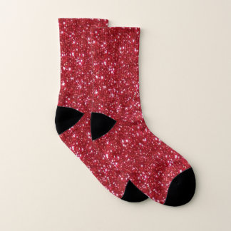 Faux Red Glitter And Glamour Socks 1