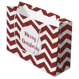 Faux Red Glitter Chevron Gift Bag
