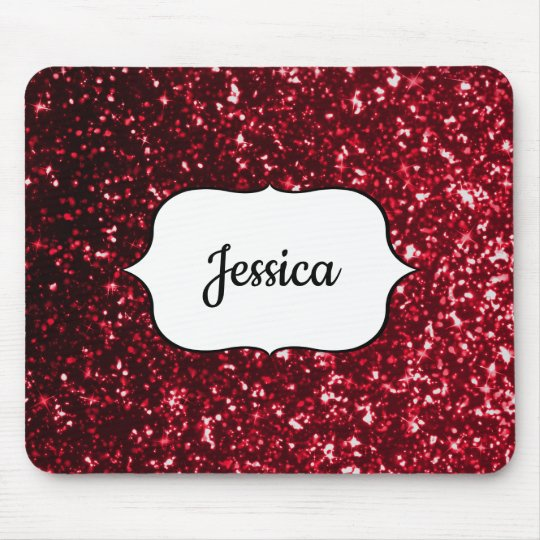 Faux Red Glitter Glamour Girly Glam Name Mouse