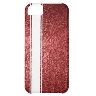 Faux Red Leather & White Stripe iPhone 5c Case