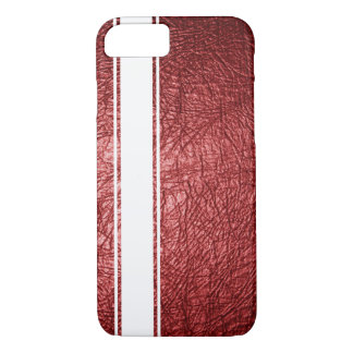 Faux Red Leather & White Stripe iPhone 7 Case