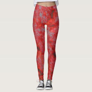 Faux Red Marble Leggings