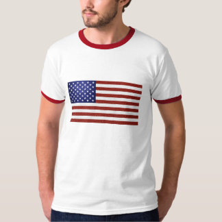 Faux Red White Blue Leather USA Flag T-Shirt