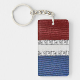 Faux Red White & Blue Rhinestone  Key Chain