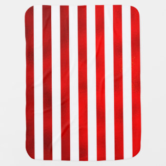 """Faux Red White Vertical Stripes """"Candy Stripe"""" Baby Blanket"""