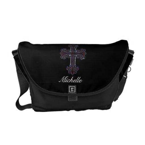 Faux Rhinestone Cross Messenger Bag