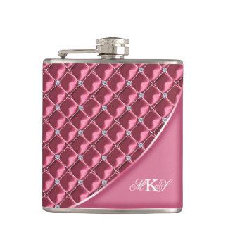 Faux Rhinestone Quilt Monogram Pink Flasks