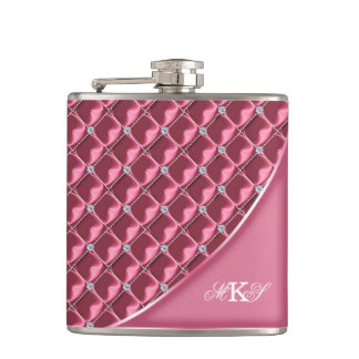 Faux Rhinestone Quilt Monogram Pink Hip Flask