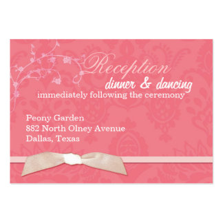 Faux Ribbon Coral Pink Wedding Reception (3.5x2.5) Pack Of Chubby Business Cards