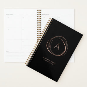 Faux Rose Gold Abstract Monogram Planner