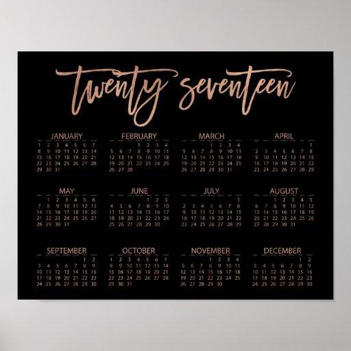 Faux Rose Gold and Black Modern 2017 Calendar