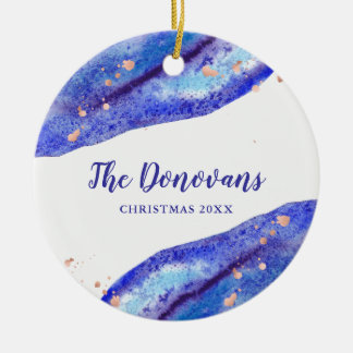 Faux Rose Gold and Watercolor Blue Geode | Photo Christmas Ornament