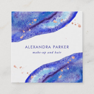 Modern gemstones business cards business card printing zazzle uk faux rose gold and watercolor blue geode square square business card reheart