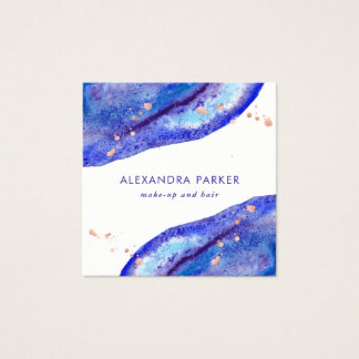 Faux Rose Gold and Watercolor Blue Geode   Square Square Business Card