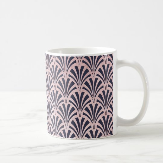 Faux Rose Gold Art Deco Pattern on Midnight
