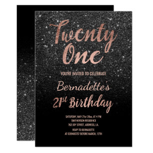 Faux Rose Gold Black Glitter 21st Birthday Invitation