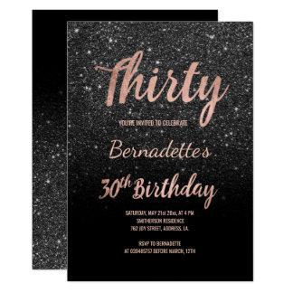 Faux rose gold black glitter 30th Birthday Card