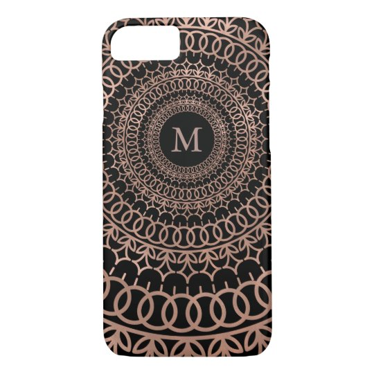 Faux Rose Gold & Black Intricate Mandala Monogram