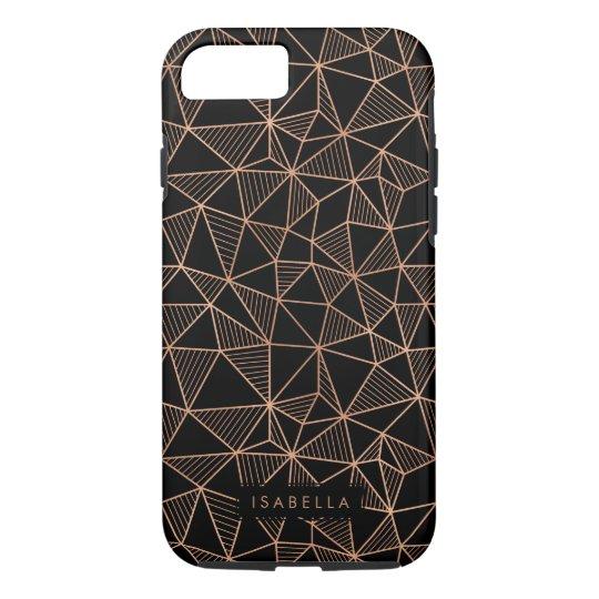 Faux Rose Gold & Black Modern Geometric iPhone