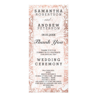 Faux rose gold boho floral boho wedding program rack card