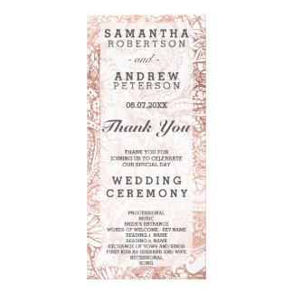 Faux rose gold boho floral boho wedding program rack card template