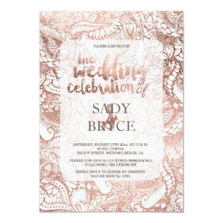 Faux rose gold boho floral hand drawn wedding (2) 13 cm x 18 cm invitation card
