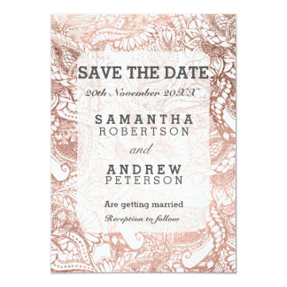 Faux rose gold boho floral handdrawn save the date card