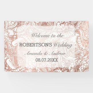 Faux rose gold boho floral handdrawn wedding