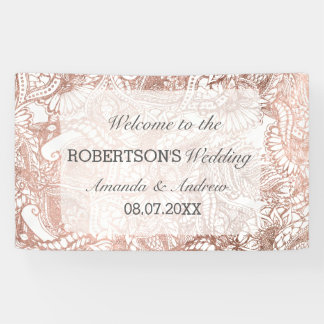 Faux rose gold boho floral handdrawn wedding banner