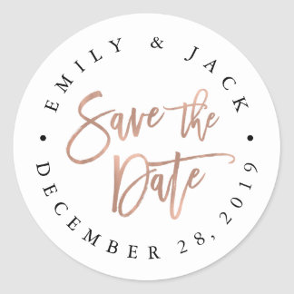 Faux Rose Gold Brush Lettered Save the Date Round Sticker