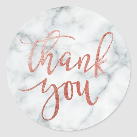 faux rose gold calligraphy thank you on marble classic round sticker