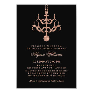 Faux Rose Gold Chandelier on Black Bridal Shower Card