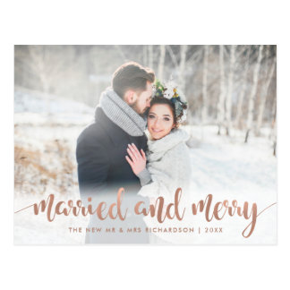 Faux Rose Gold Christmas Photo | Married and Merry Postcard