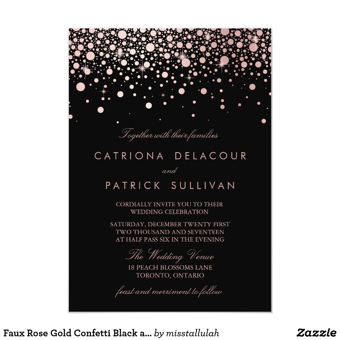 Faux Rose Gold Confetti Black and White Wedding Card