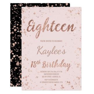 Faux rose gold confetti blush 18th Birthday 13 Cm X 18 Cm Invitation Card