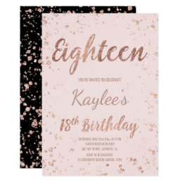 18th birthday invitations announcements zazzle uk faux rose gold confetti blush 18th birthday card filmwisefo Choice Image