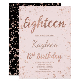 18th birthday invitations announcements zazzle faux rose gold confetti blush 18th birthday card stopboris Image collections
