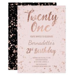 21st birthday invitations announcements zazzle uk faux rose gold confetti blush 21st birthday card filmwisefo Gallery