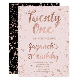 Faux rose gold confetti blush 21st Birthday custom 13 Cm X 18 Cm Invitation Card