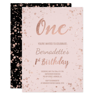 Faux rose gold confetti blush first Birthday Card