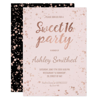 Faux rose gold confetti blush pink script Sweet 16 13 Cm X 18 Cm Invitation Card