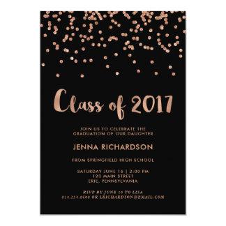 Faux Rose Gold Confetti Graduation Party | Black Card