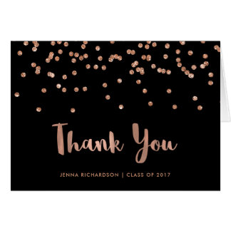 Faux Rose Gold Confetti Graduation Thank You Card